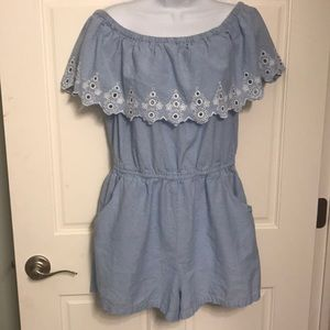 Blue Romper with white eylet  size Large
